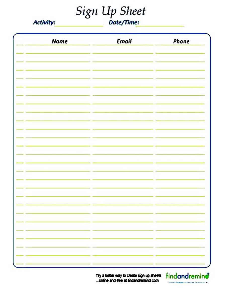 Printable Sign Up Sheet Template Printable Signs Signup Templates Hourly sign up sheet template