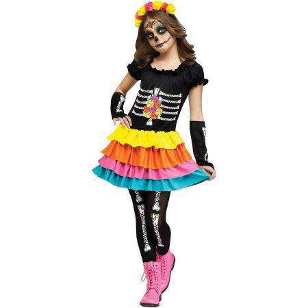 Day of the Dead Child Halloween Costume, Girl\u0027s, Size Child Large