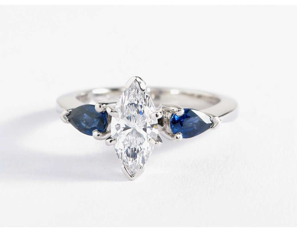 double diamond with petal two stone engagement unique shaped and sapphire ring pear platinum collection