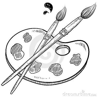 Artist Brush And Palette Sketch Brush Tattoo Paint Brush Drawing Brush Drawing