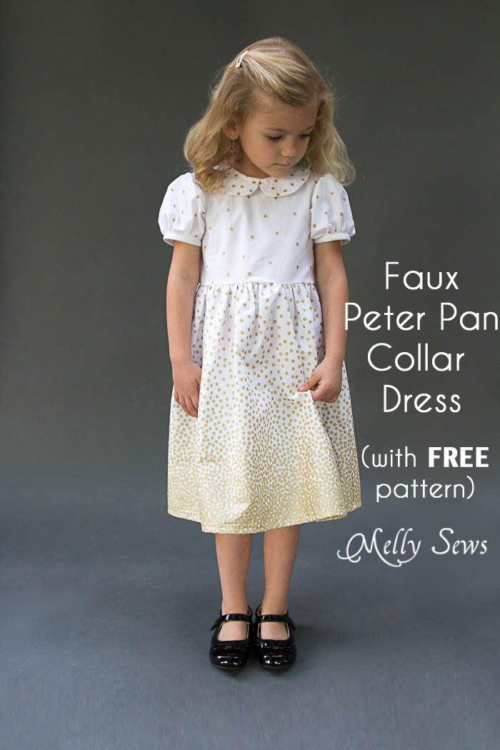 Faux Peter Pan Collar Dress - with FREE pattern | Peter pan collar ...