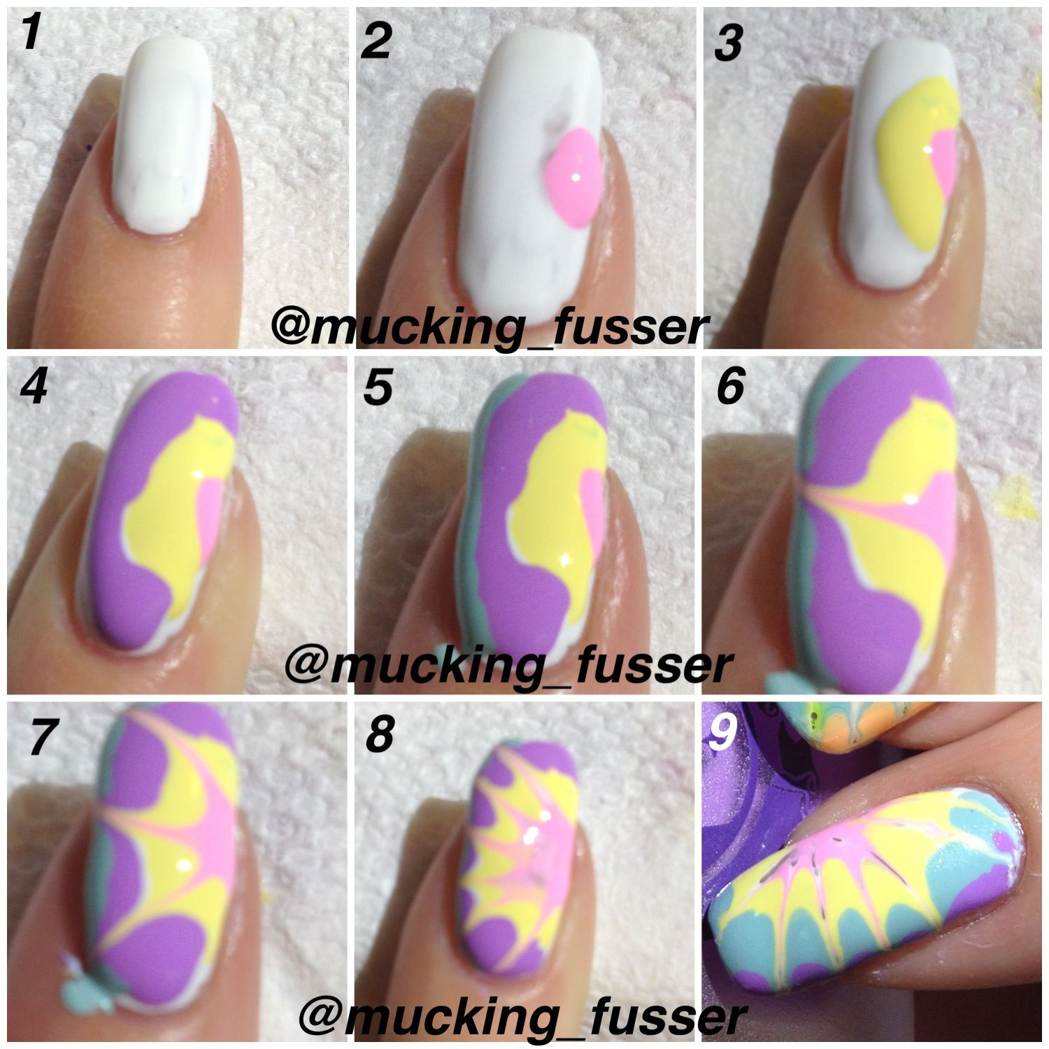 Toothpick Nail Art Designs: Dry Drag Marble Tutorial