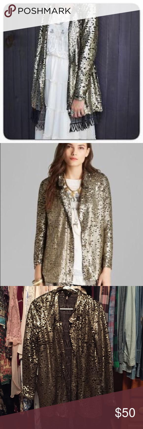 Free people gold sequin cardigan coat blazer | Sequin cardigan ...