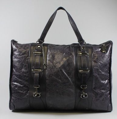 BID ON Johnny Weir's AUTH BALENCIAGA Purple Leather Zip Top Carry On Duffle Handbag at www.ShopLindasStuff.com