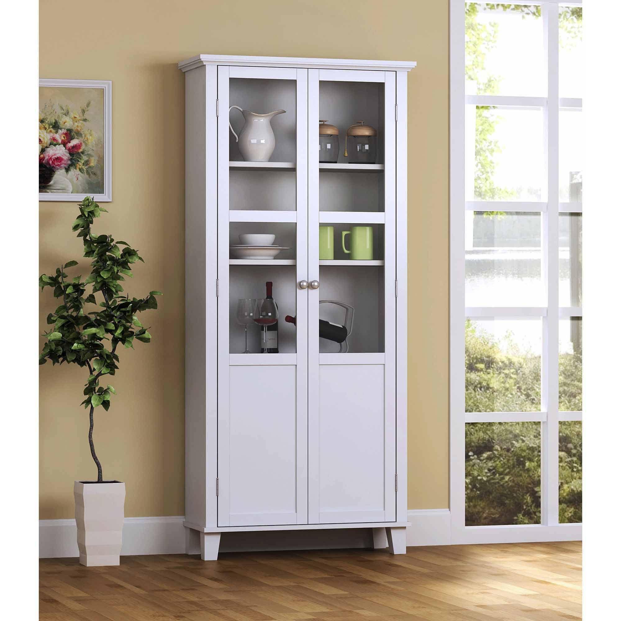 Homestar 2 Door Pantry Cabinet With Glass Doors Walmart Com Storage Cabinet White Storage Cabinets Pantry Storage Cabinet