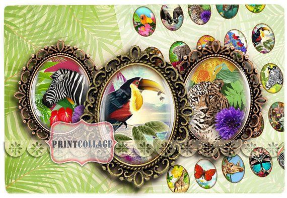 Digital Printable Sheets 40x30_30x22_25x18_18x13mm by PrintCollage, $4.30 Exotic Animals By PrintCollage
