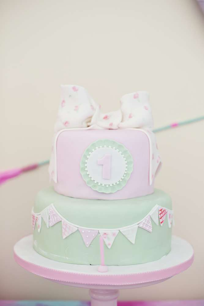 Pink And Mint Cake At An Indian 1st Birthday Party See More
