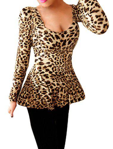 b8fa274b2113ca Allegra K Women Leopard Pattern Pullover Autumn Peplum Shirt Beige Black M.