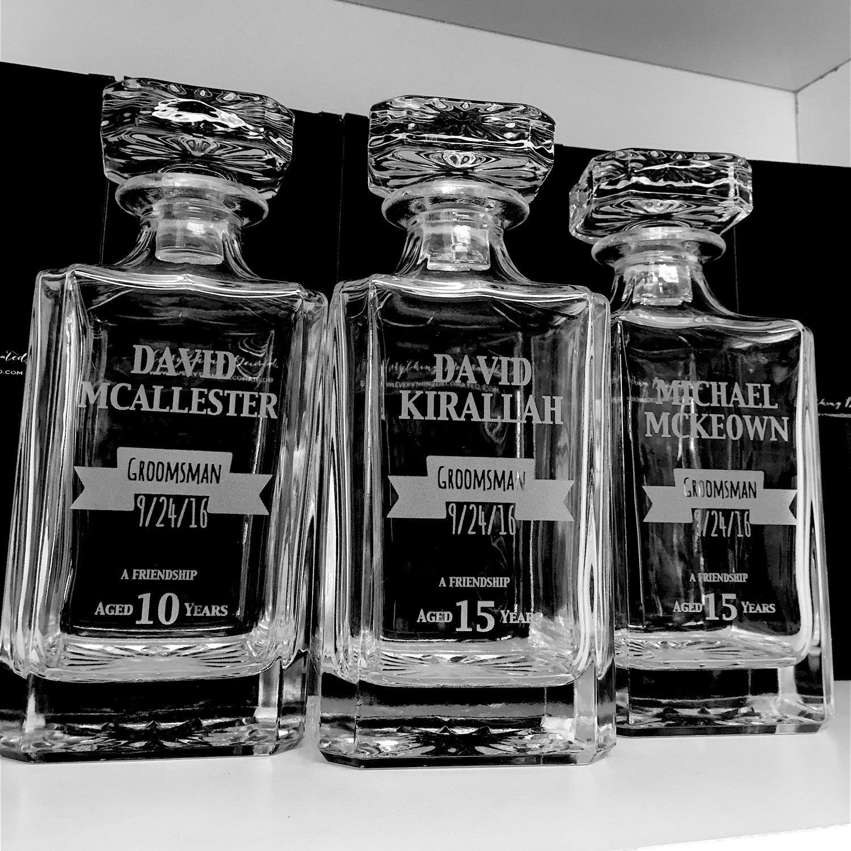 Perfect Groomsmen Gifts! Custom engraved whiskey decanters, groomsman gift, wedding favors for groomsmen