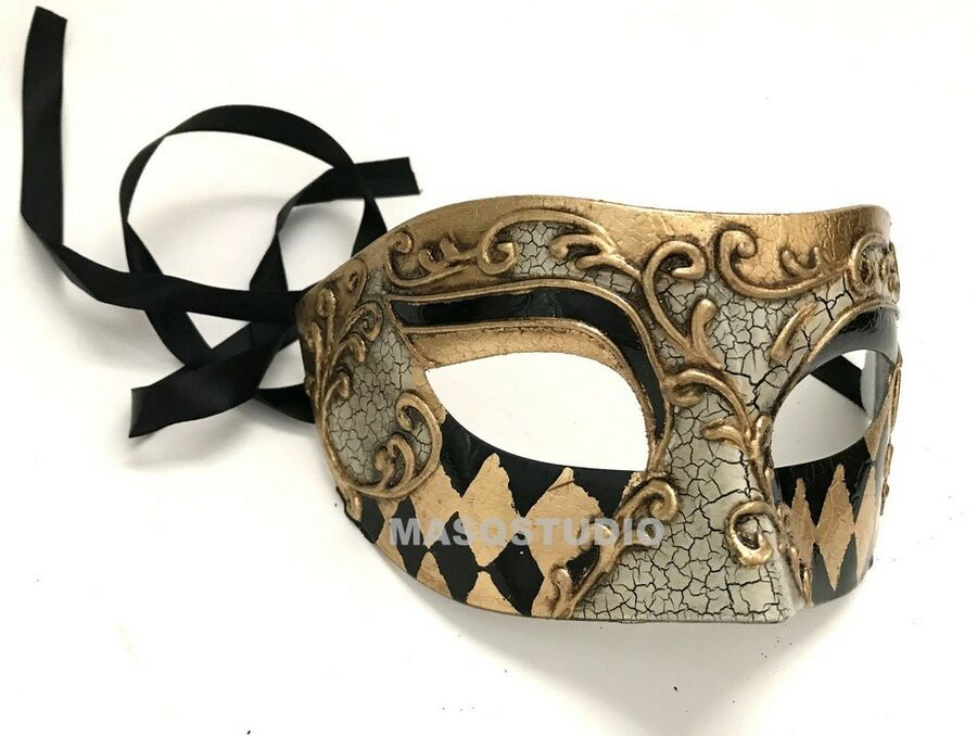 Boys Mens Black Silver Masquerade Mask Halloween Costume Black tie Party Mask