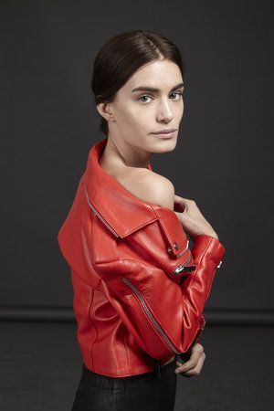 This bright flame red moto leather jacket is astounding. I can imagine  myself accidentally walking into traffic while staring at it. Style Planet   00d18124d70