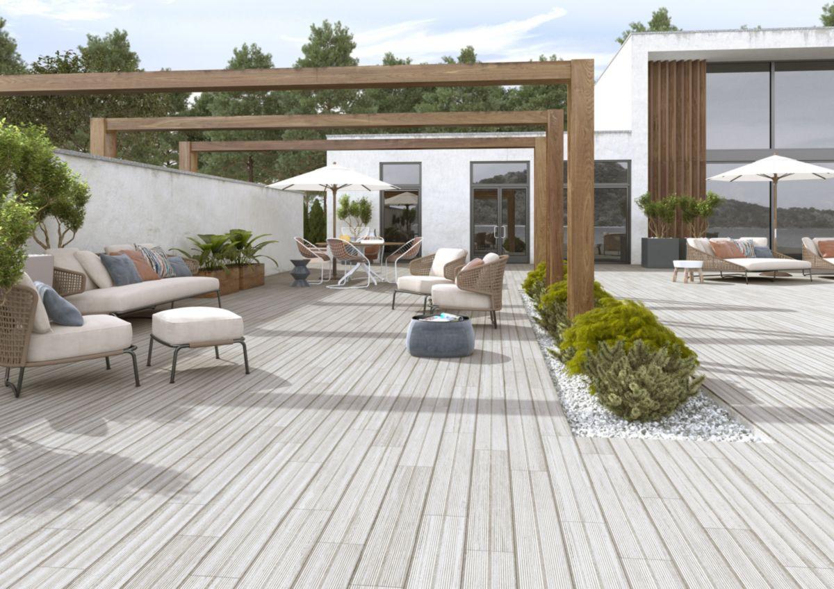 Carrelage Sol Exterieur Gres Cerame Imagine Deck Gris 16x99 Cm Sol Exterieur Exterieur Maisons Exterieures