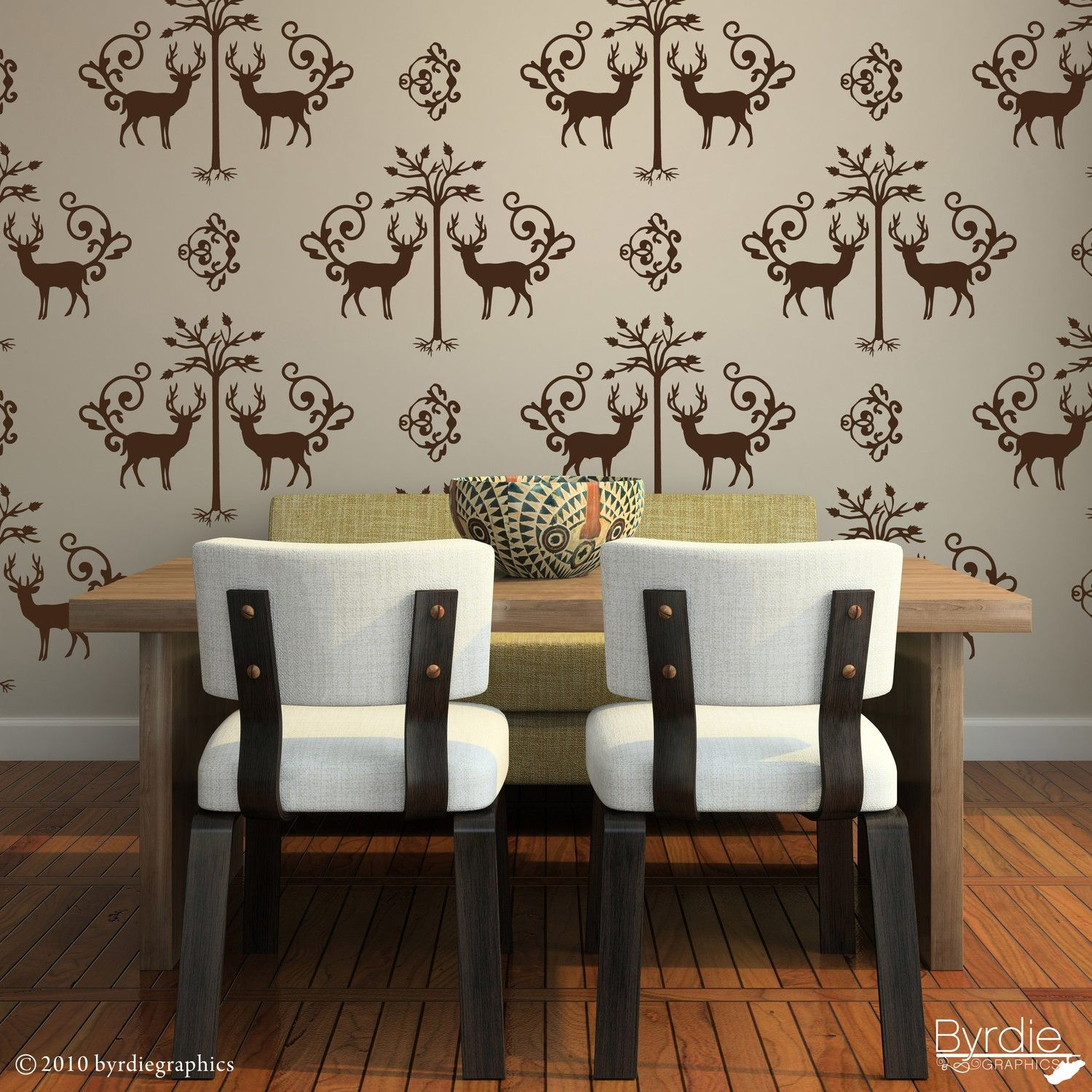 Large Deer And Tree Damask Vinyl Wall Decals  20 Graphics, Wallpaper,  Stickers, Wall Pattern, Item 10036