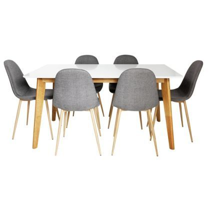 Homebase 41999 Hygena Beni Dining Table 6 Grey Chairs
