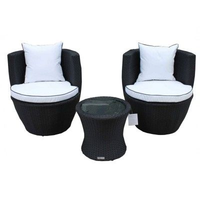 Orlando Rattan Vase Set In Black And Vanilla Black Rattan Garden Furniture Rattan Garden Furniture Wicker Patio Furniture Sets
