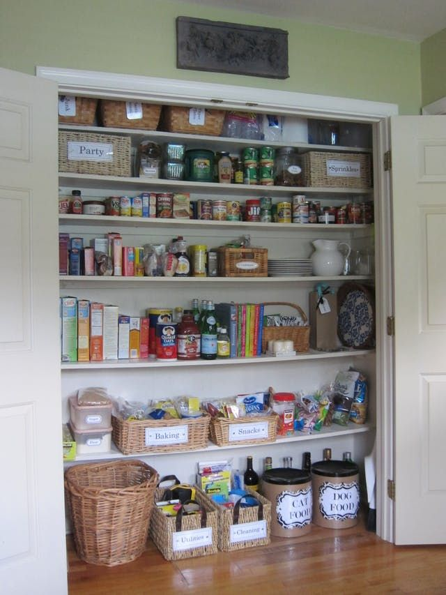 Look At This Coat Closet Turned Into A Pantry! | Coats, Wardrobes And Larder