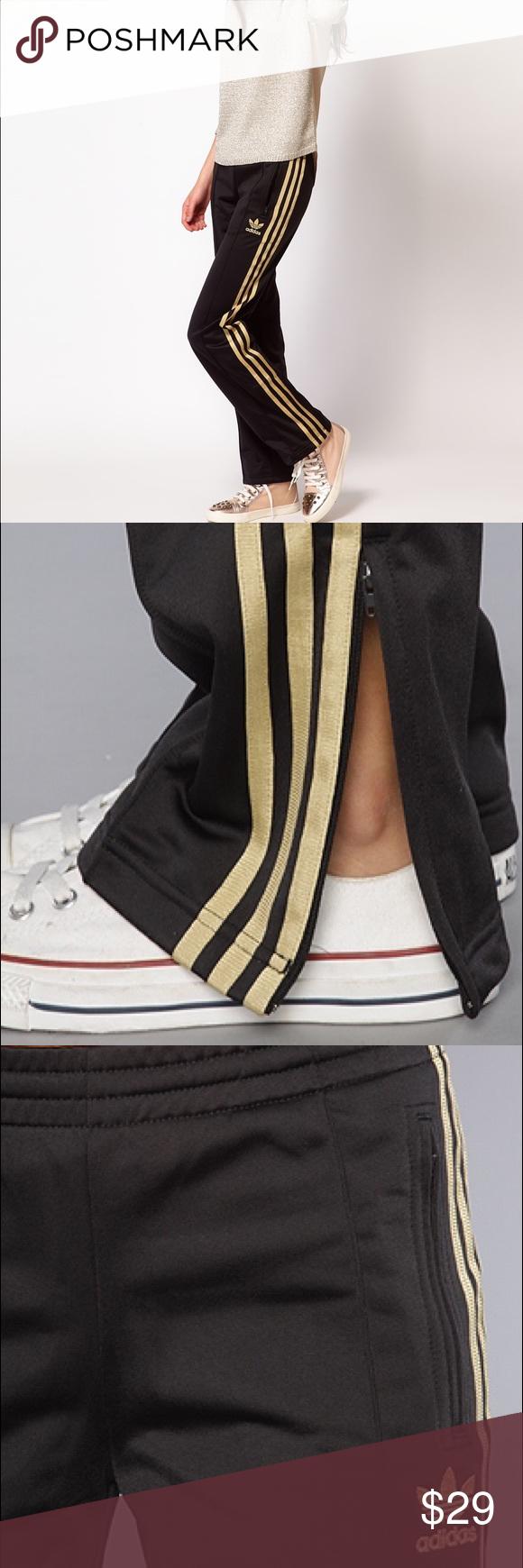 Adidas] firebird i pantaloni della tuta nera e oro, pantaloni della tuta adidas pantaloni