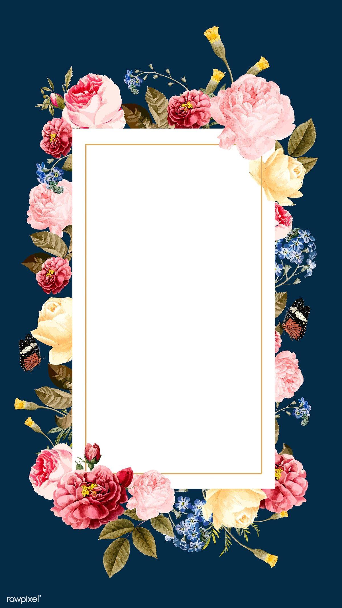 Download Premium Illustration Of Blank Floral Frame Card Vector