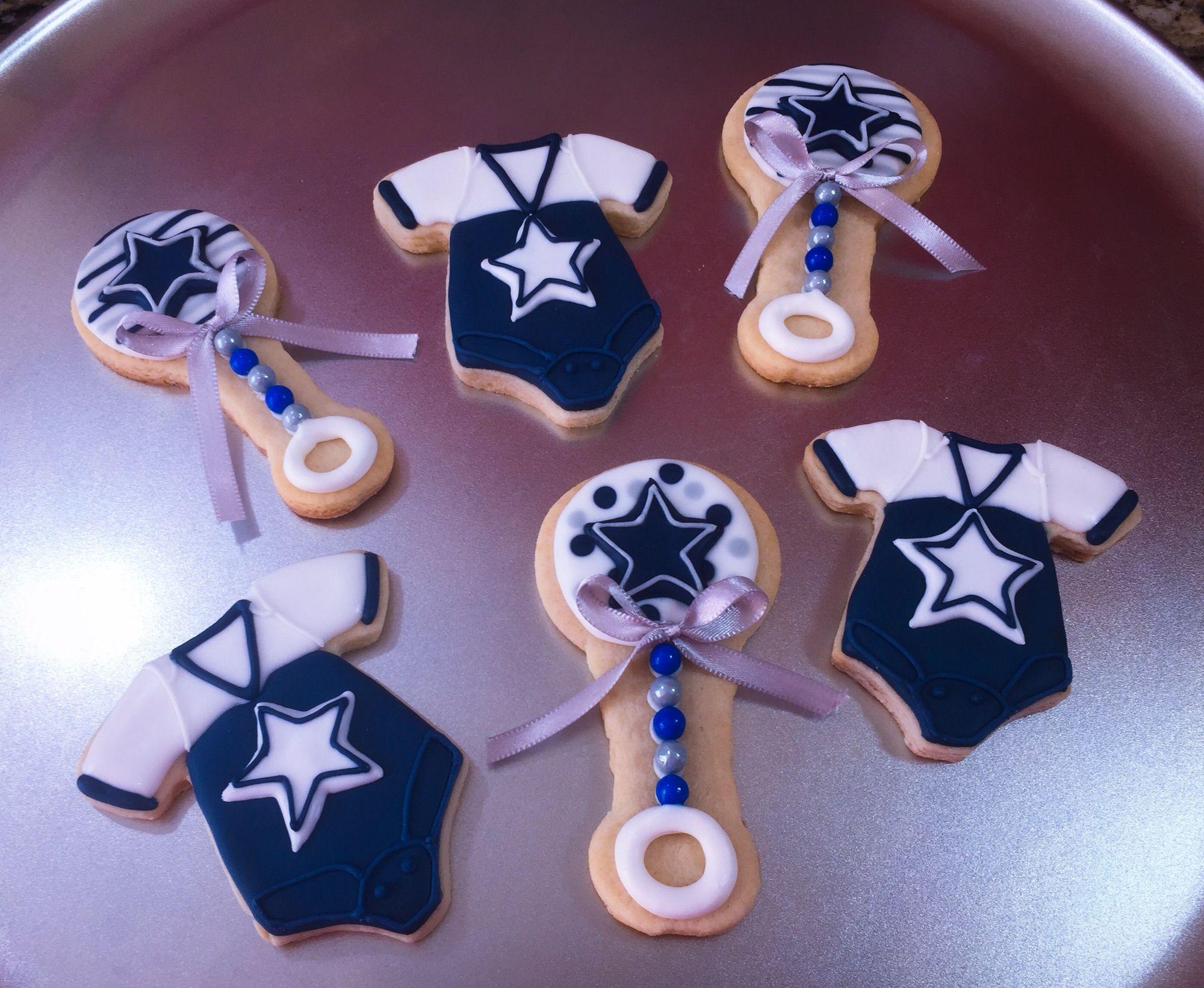 Dallas Cowboys Baby Onesies & Rattle Cookies, Baby Shower ...