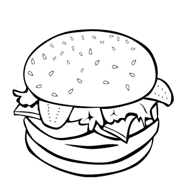 The Big Burger For Fast Food Coloring Page For Kids Food