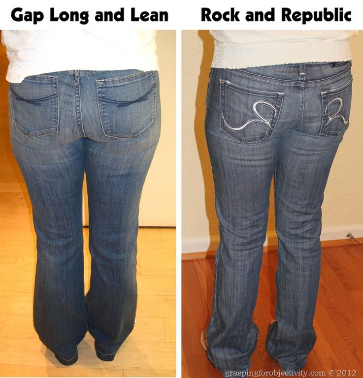 Amazing, must-read blog with photo evidence -- it's all about the cut and styling!!!Gap Long and Lean Vs Rock and Republic