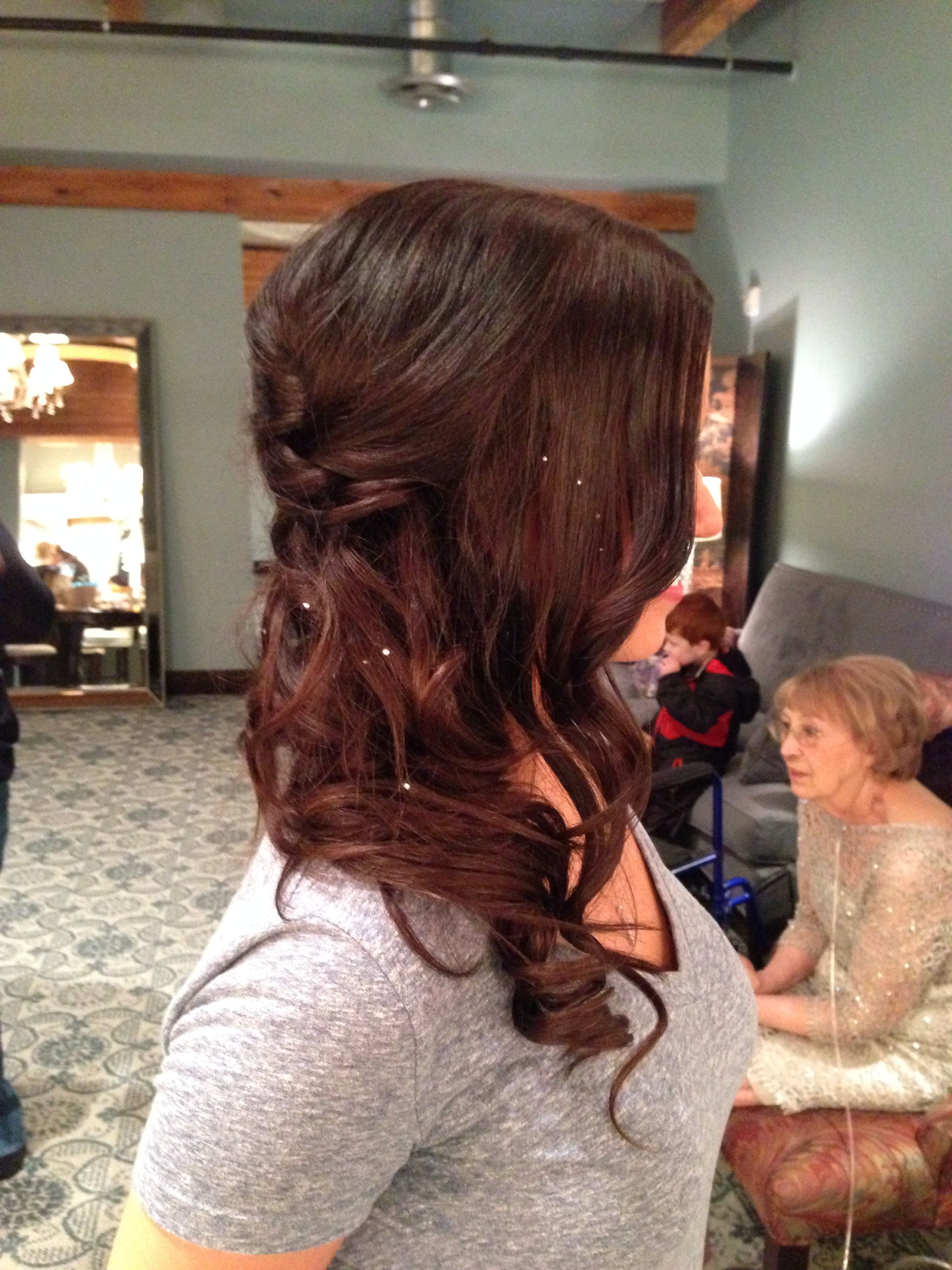Side braid with loose curls and charmsies for glitz beautiful