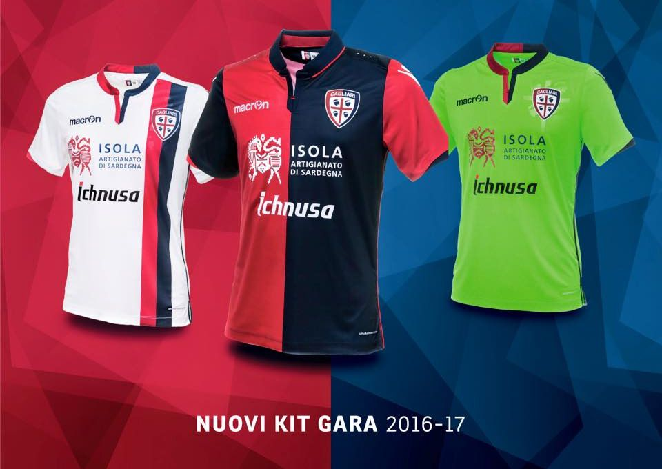 c35bcd9986 Camisas do Cagliari Calcio 2016-2017 Macron abre