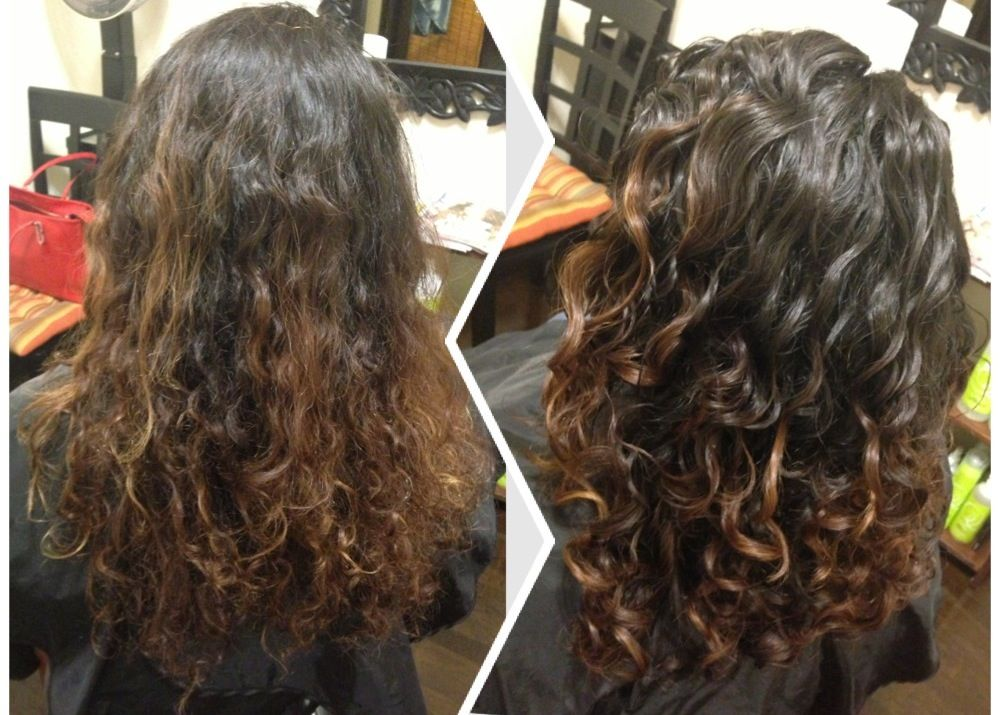 Beforeafter Dry Haircut For Naturally Curly Hair Followed By The