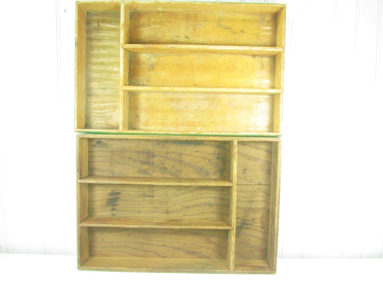 Shabbychic wall decor,wood shelf,vintage silverware tray,kitchen ...