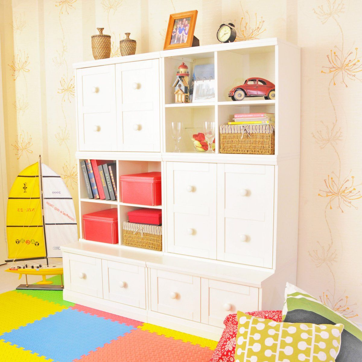 8 Kids Storage And Organization Ideas: Makena Modular Closed Storage Base & Open Quad Cubical