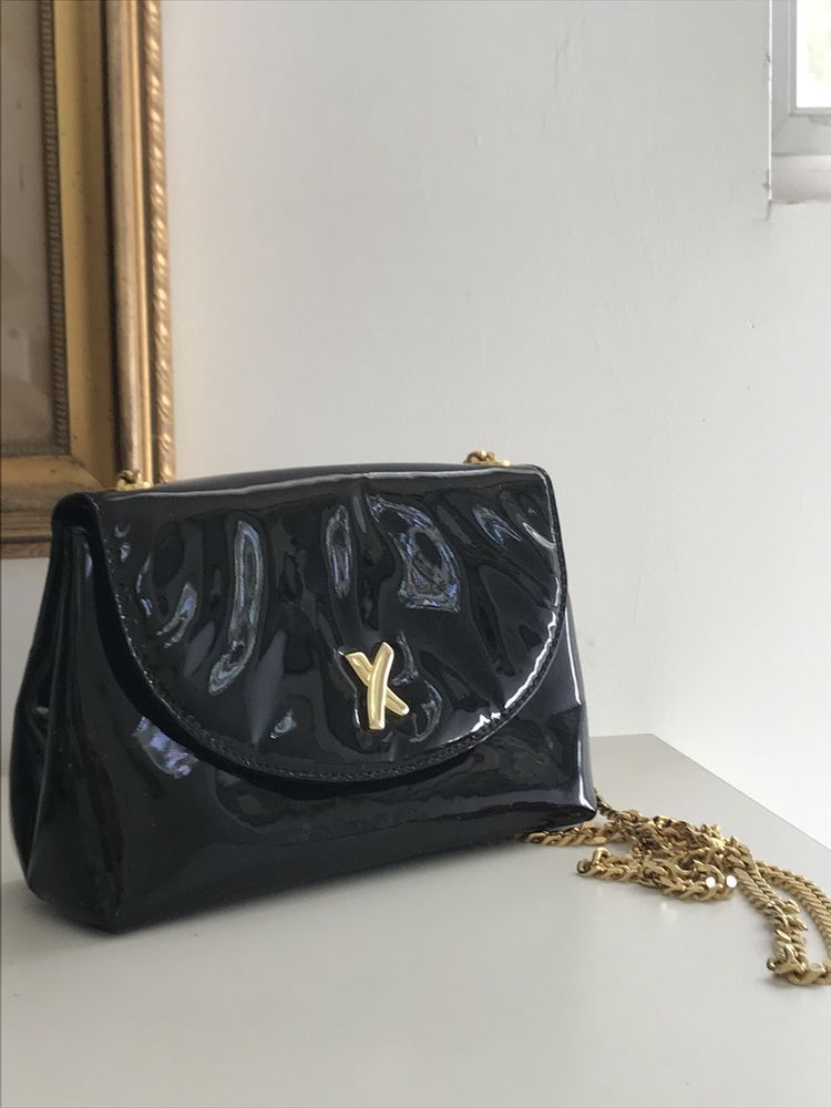 PALOMA PICASSO Vintage Black Patent Leather Chain Cross body