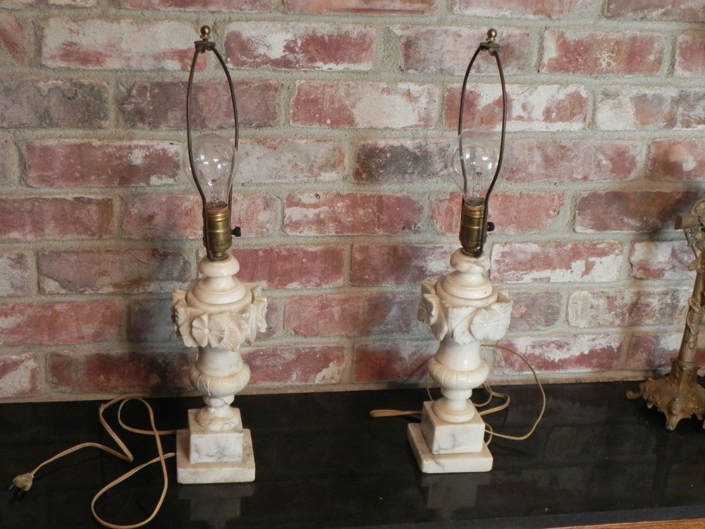 Pair Of Antique Alabaster Lamp Bases Only Circa 1920 Both Work