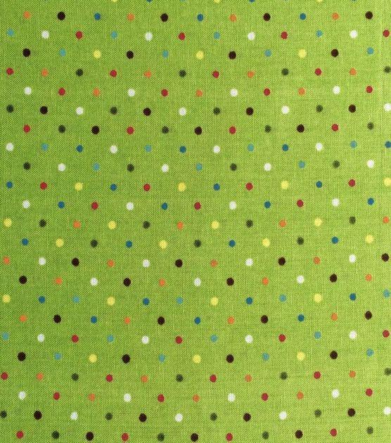 Keepsake Calico™ Cotton Fabric-Rainbow Dot On Green