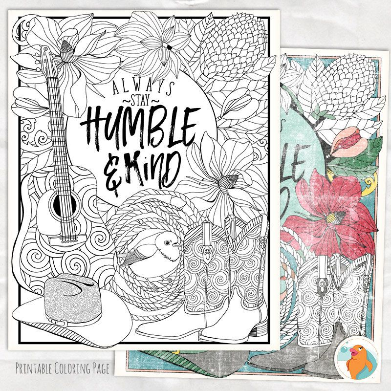 Printable Coloring Pages For Adults With Quotes : Printable coloring page humble & kind adult colouring sheet