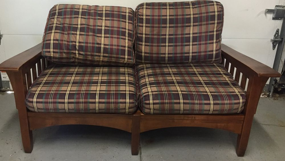 Genial Ethan Allen Mission Style Craftsman Love Seat Plaid Cushions Gorgeous Wood # EthanAllen #Mission