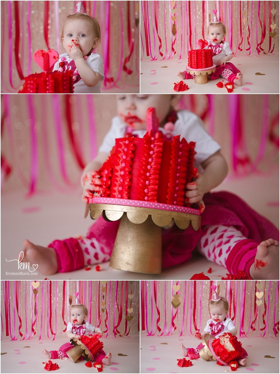 Pink Red And Gold Valentines Day Hearts Cake Smash For 1st