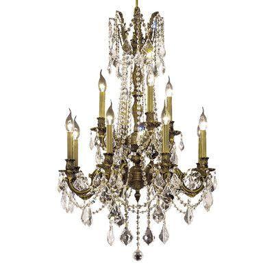 Elegant Lighting Rosalia 12 Light Chandelier Finish / Crystal Color / Crystal Trim: