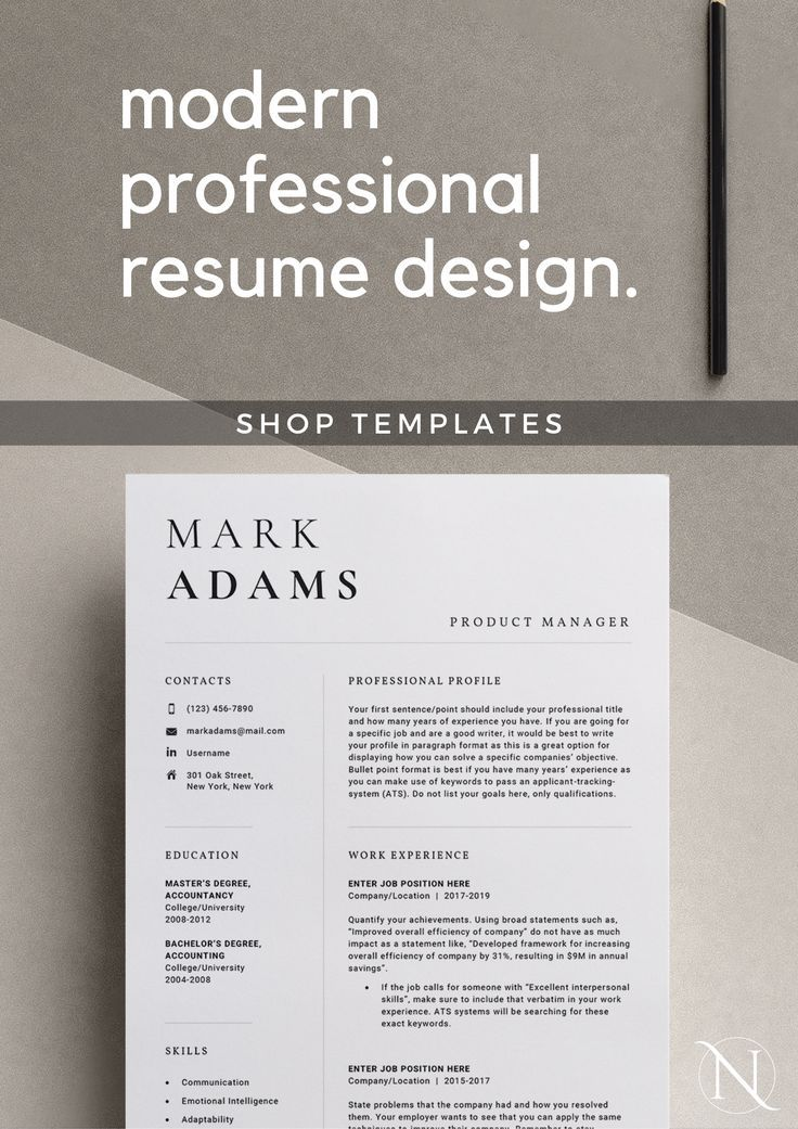 Instant download resume template and resume writing guide