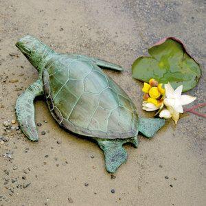 Sea Turtle 17 In Garden Statue Cast Aluminum Verdi Finish Indoor Outdoor Sculpture Achla Designs 719908319007
