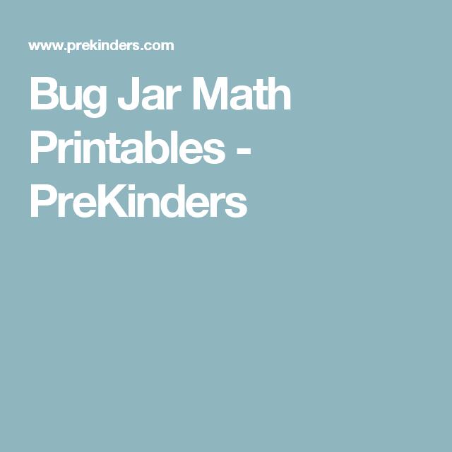 Bug Jar Math Printables   Maths, Pre-school and School