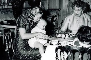 Princess Grace with Her son, Prince Albert, and his godmother, Queen Ena of Spain.