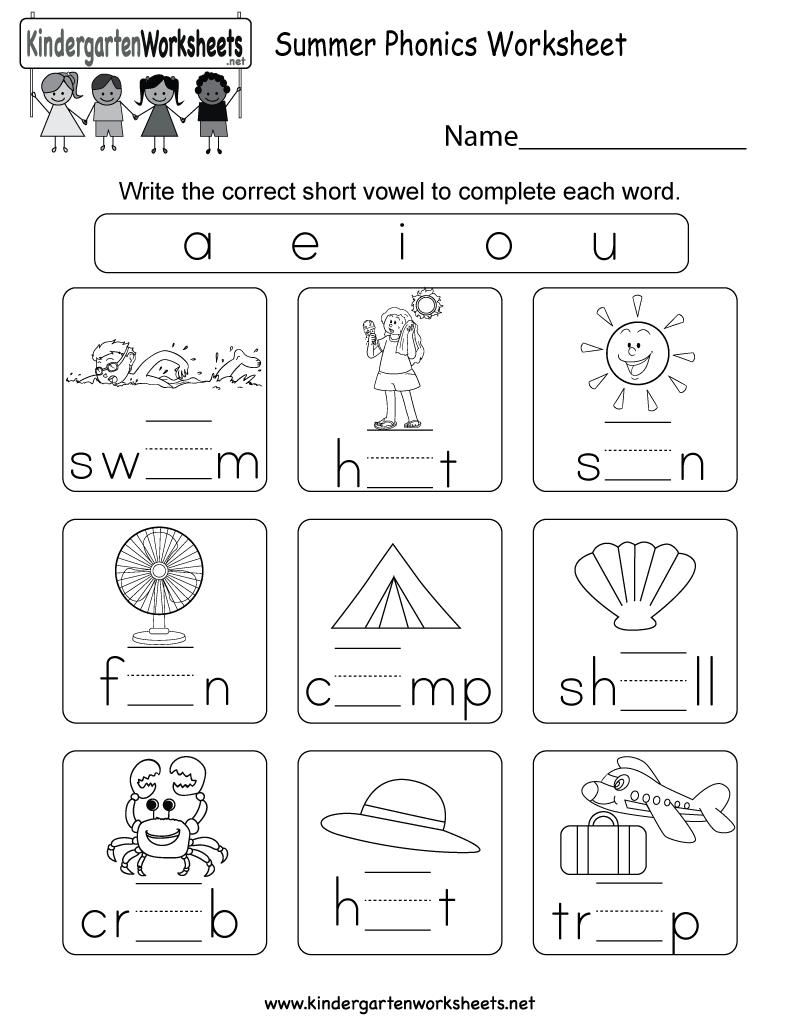 Free Printable Worksheets On Phonics For Kindergarten Kindergarten Phonics Worksheets Phonics Worksheets Phonics Kindergarten