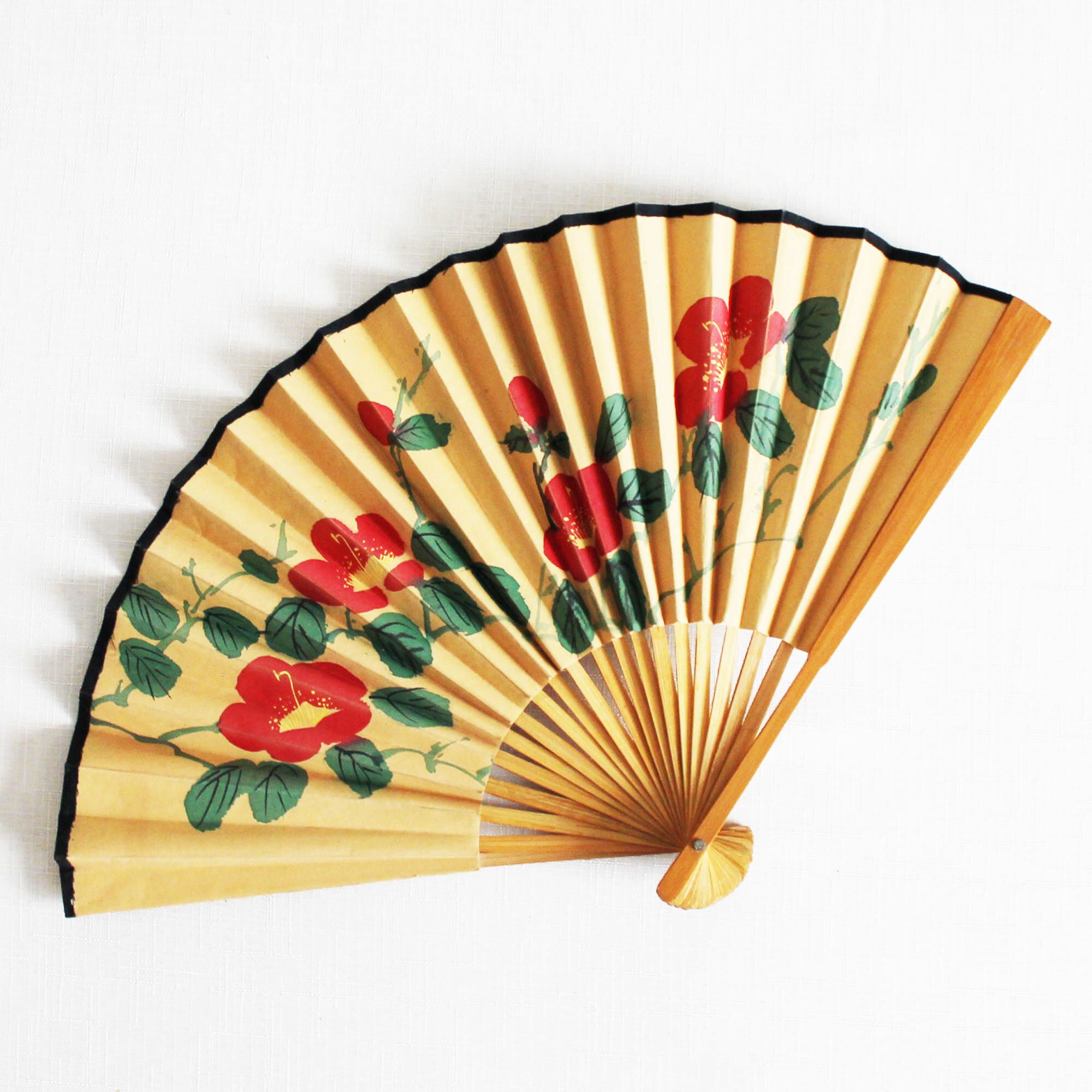 Vintage medium wooden fabric paper fan Mustard yellow fan Hand ...
