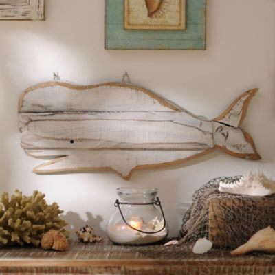 Whales are some of the most beautiful and majestic animals. Add some charm to your home with the Distressed White Whale Wooden Plaque! #kirklands #FromCoasttoCoast