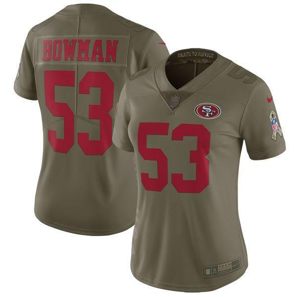 fabbaab476b Women San Francisco 49ers 53 Bowman Nike Olive Salute To Service Limited  NFL Jerseys