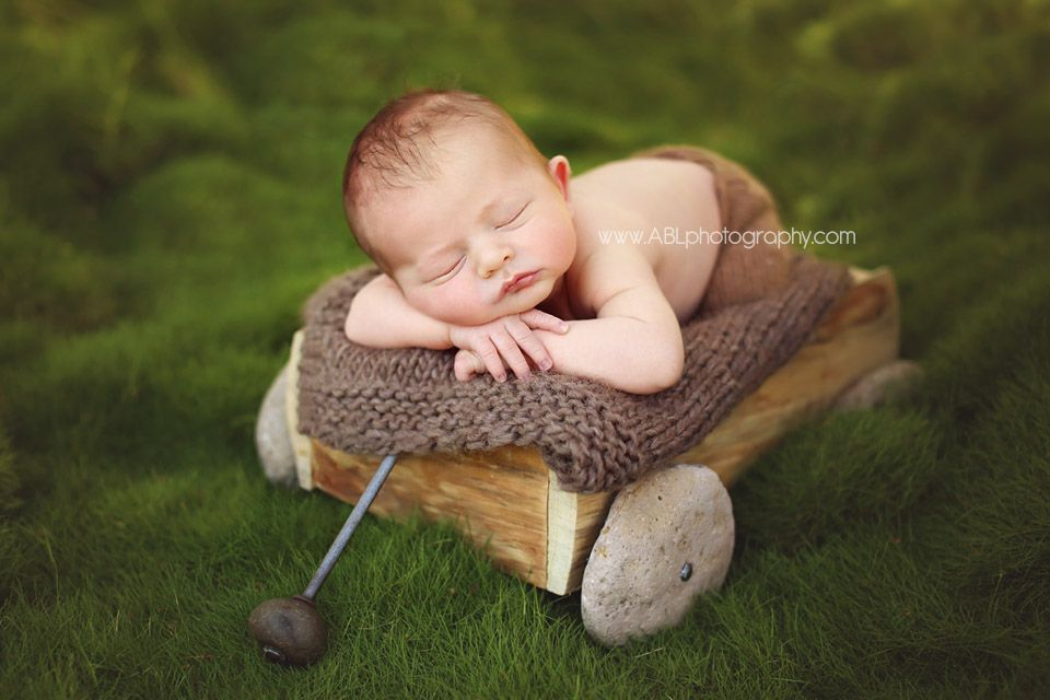 San diego newborn photographer newborn baby boy picture ideas baby in a wooden wagon