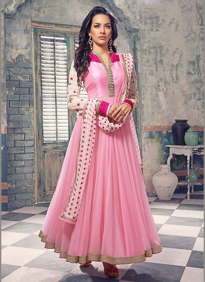 Rose #Pink Georgette And #Net #Anarkali #Suit #nikvik #usa #designer ...