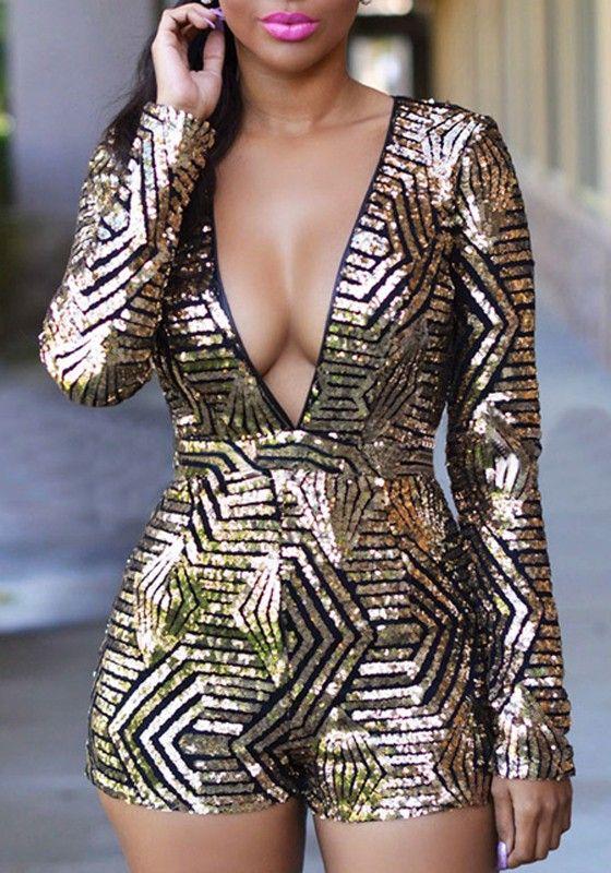Black Gold Sequin Plunging Neckline Backless Long Sleeve