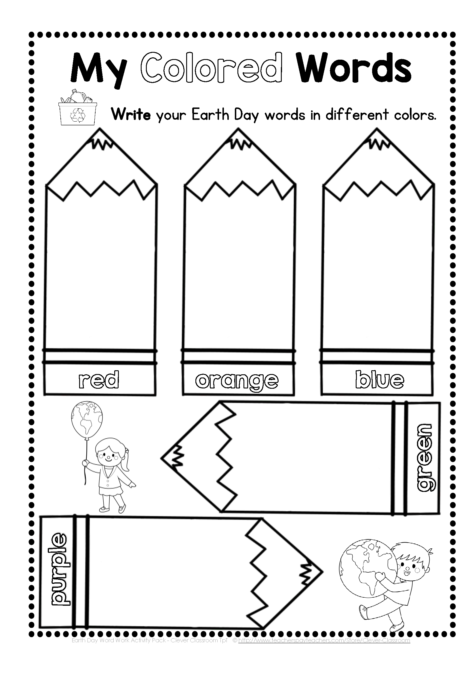 Earth Day Word Work Pack Distance Learning