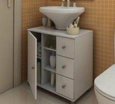 Gabinete De Banheiro Para Pia De Coluna Com Gaveta Linha Clean